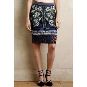ANTHROPOLOGIE MOTH Jacquard Wool Pencil Skirt